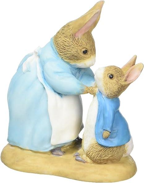 Resina Flopsy e Peter Figurine colorato Beatrix Potter Mrs Rabbit 40/x 70/x 70/cm
