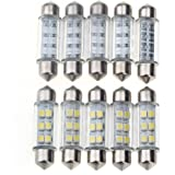 10x CARCHET Auto KFZ 39mm 6 SMD LED Sofitte Lampe Innenraum Beleuchtung 12V Weiß