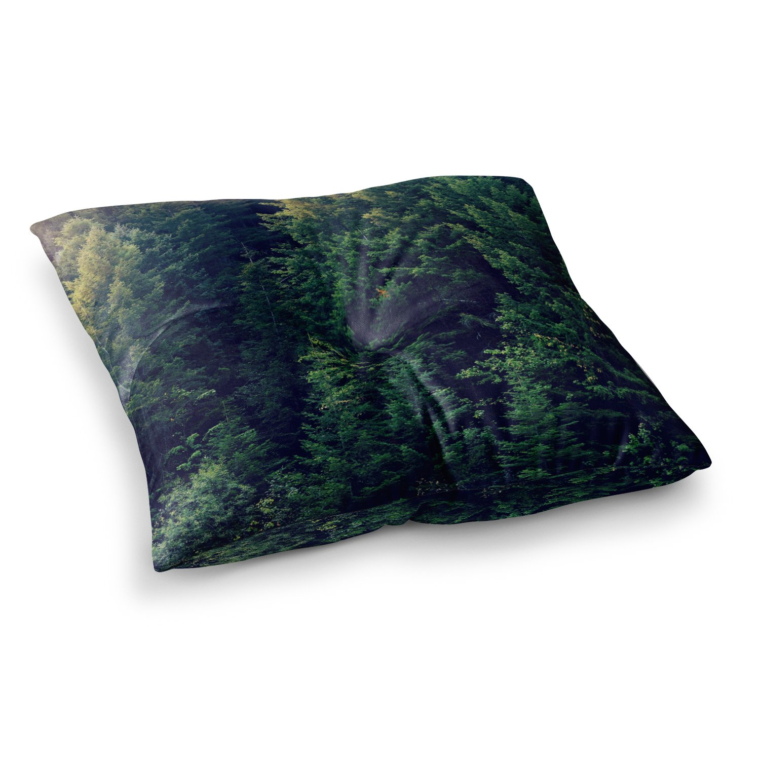 KESS InHouse Robin Dickinson Red in Woods Forest Square Floor Pillow x 26''