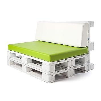Conjunto colchoneta para sofas de palet Verde Pistacho y respaldo Blanco (1 x Unidad) Cojin relleno con espuma. | Cojines para chill out, interior y ...