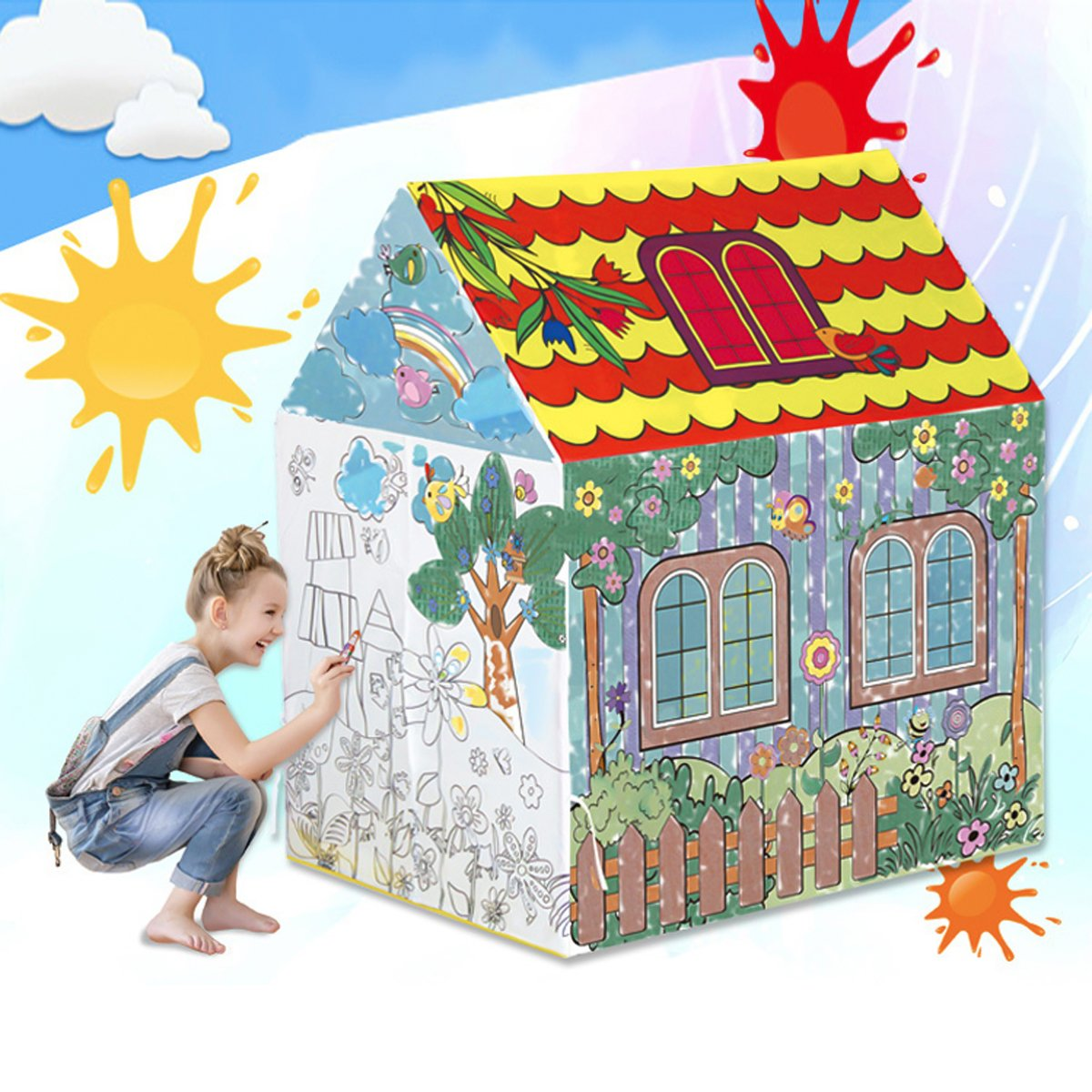 VeraCasa Washable Color Playhouse for Kids I I Children Indoor Play Tent I Bonus 8 Color Markers I Best Indoor DIY Activity for Girls