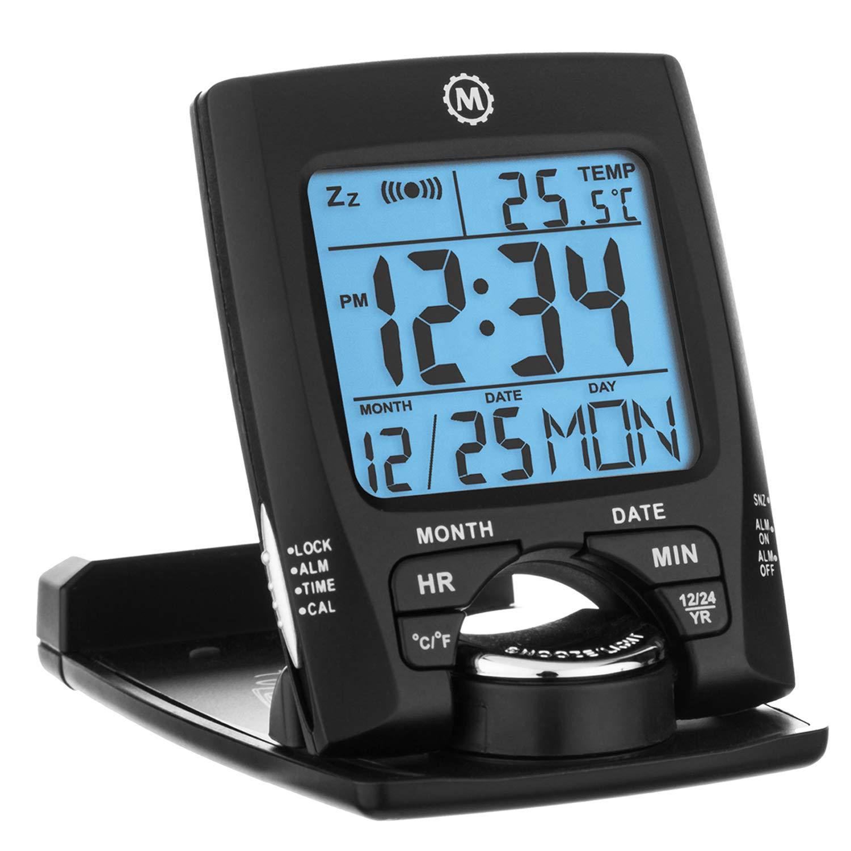 Marathon cl030023 viajes reloj despertador con calendario y temperatura - incluye pilas: Amazon.es: Hogar
