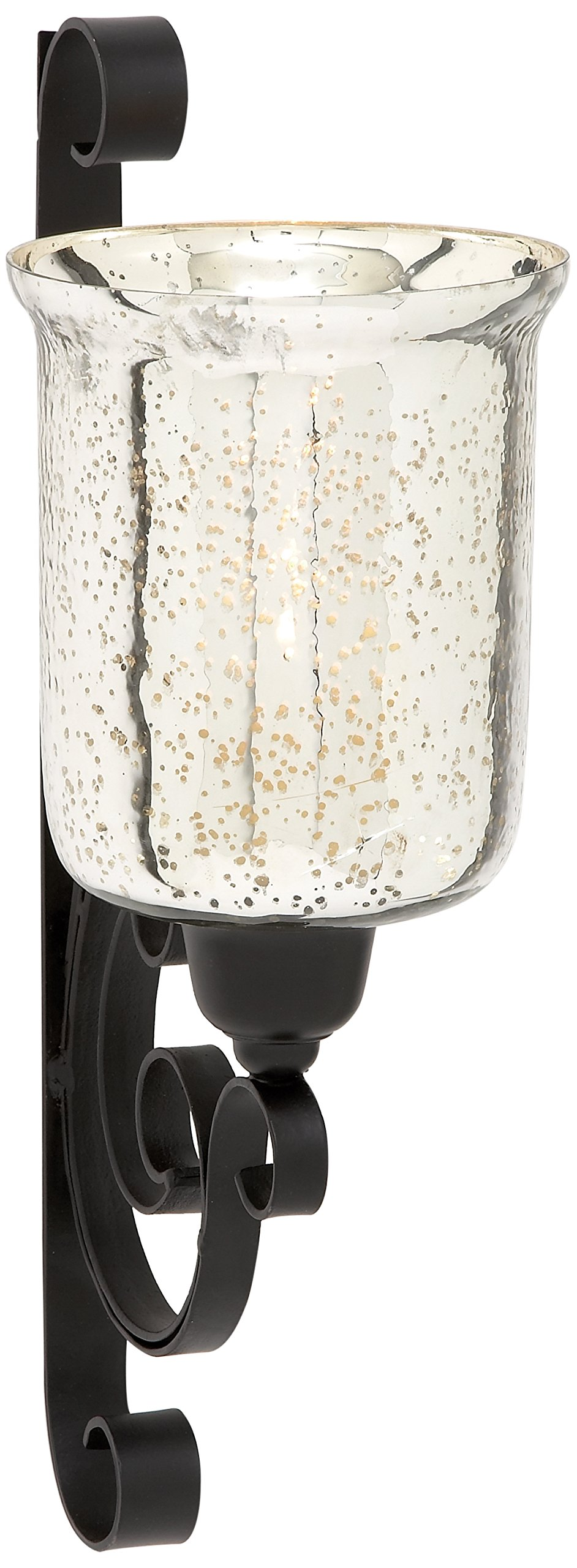 Deco 79 Traditional Scrolled Metal and Glass Candle Sconce, 20'' H x 11'' L, Polished Black and Silver