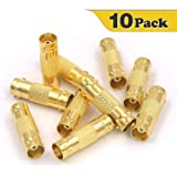VCE 10-PACK Gold plated BNC Female to BNC Female CCTV Security Camera Adapter Straight Connector