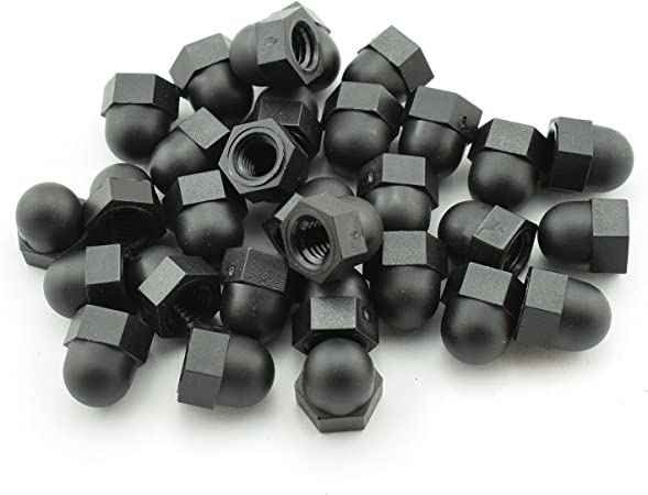 RuiLing 30pcs M6x1.0 Black Nylon Hex Acorn Nuts Hexagon Decorative Cap Nut Acorn Dome Head Nuts for Screws Bolts