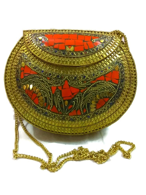 Handmade Vintage Ethnic Metal Clutch cum Sling Bag
