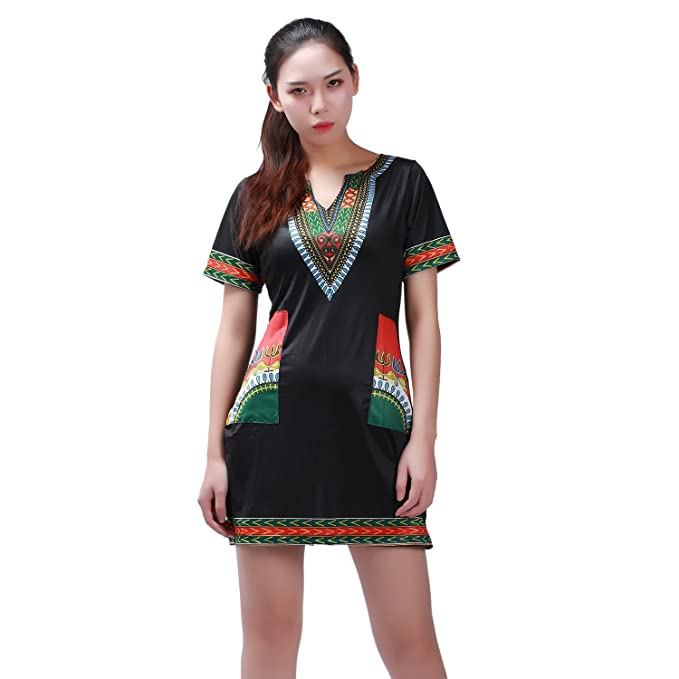 West See Damen Kleider Mini Print Dashiki Bodycon Kurzarm V-Ausschnitt (EU  M(