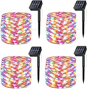 LiyuanQ Solar Fairy Lights, 4 Pack 200 LED Solar String Lights 66 Feet 8 Modes Copper Wire Lights Waterproof Outdoor Twinkle Lights for Garden Patio Yard Gate Party Wedding Outdoor Decor Multicolor