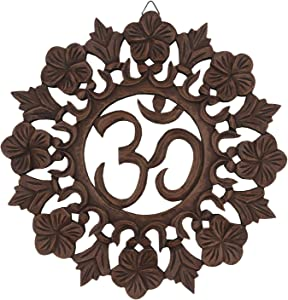 DharmaObjects Handcrafted Wooden Om Wall Decor Hanging Art (OM NATURAL)