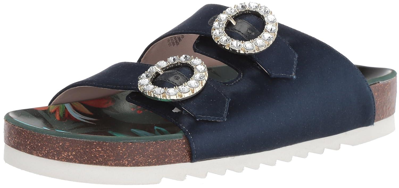 Nine West Women's Illwait Satin Slide Sandal B074NGF54C 5 B(M) US|Navy Satin