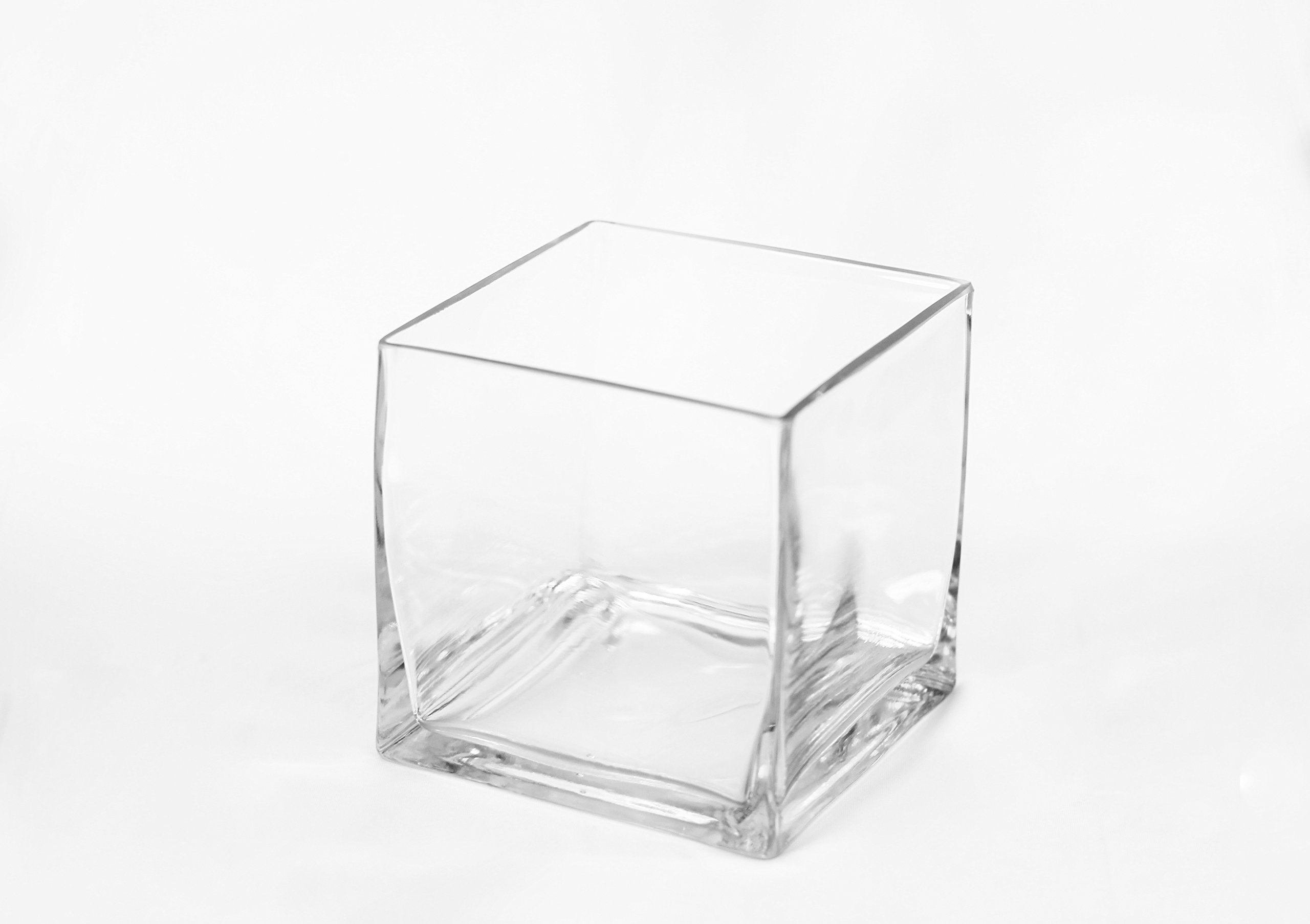 Beyond Vases 12 Pack - 5'' x 5'' Clear Square Small Glass Vase - Great as Table Centerpiece for Wedding Decoration/Candle Holder Vase/Floating Candle Arrangements