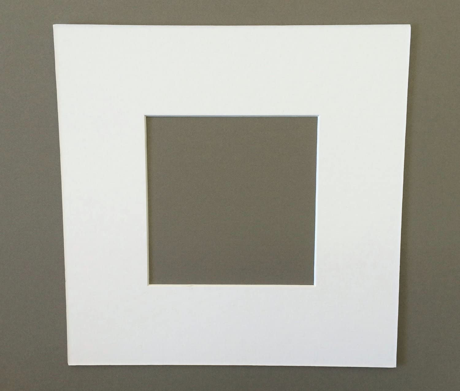 16x16 Square White Picture Mats with White Core Bevel Cut for 12x12 Pictures