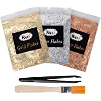 KINNO Resin Gold Flakes Set - 3g Metallic Gilding Foil Paper Flakes, Brush and Tweezers for Painting, Crafts, Nail DIY