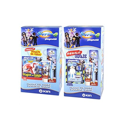 KIN SUPER 4 PLAYMOBIL PACK DE PASTA+CEPILLO+FIGURA PLAYMOBIL