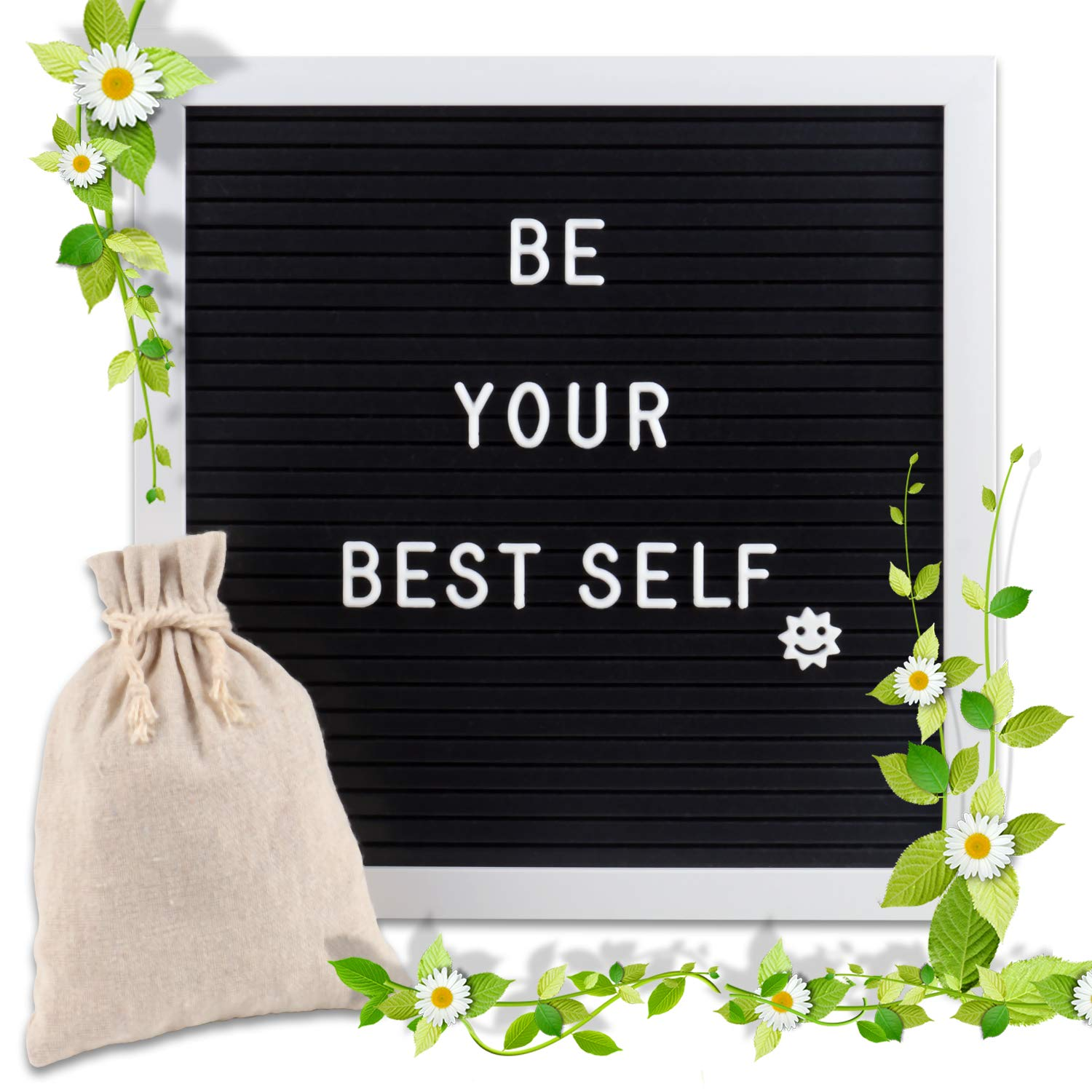 Changeable Letter Board 10x10 inches, Message Sign Board with Canvas Bag, Adjustable Stand,Wall Mount and 340 Letters, Numbers & Symbols(White) WOWGO EE