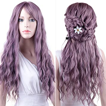 Amazon Purple Wigs Womens Long Curly Hair Wavy Wigs With Air