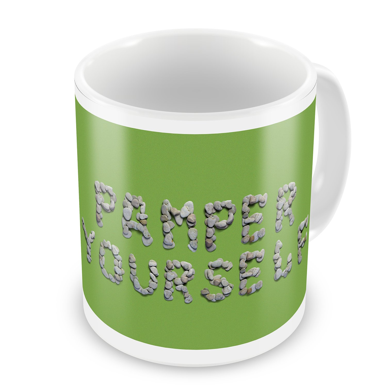 Coffee Mug Pamper Yourself Spa Stones Rocks - NEONBLOND