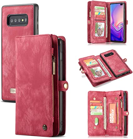 Brown Galaxy S10 Wallet Cases for Women,Kudex Premium Leather Flip Folio Zipper Wallet Case with 9 Card Slots Holder Magnetic Closure Purse Case for Samsung Galaxy S10 Wrist Strap Kickstand
