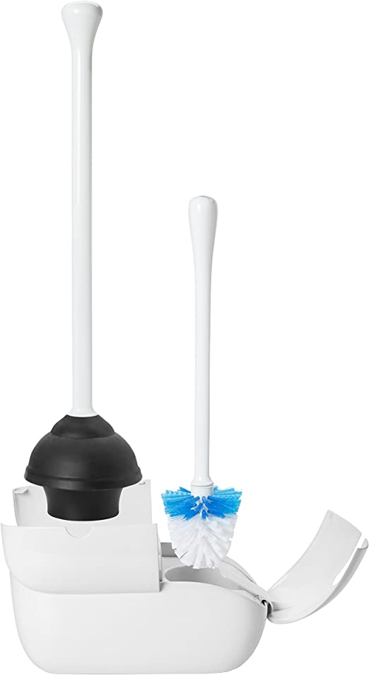 OXO Good Grips Hideaway Toilet Brush and Plunger Combination Set,White,