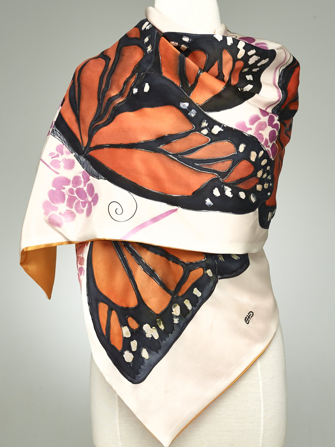 Hand Painted Silk Scarf, Silk Shawl Using French Dyes. Orange And Black Monarch Butterflies On White Silk Charmeuse.