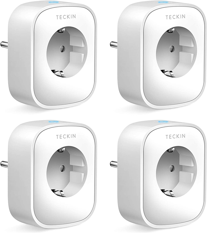 TECKIN Enchufe Inteligente, 16A 3680W Enchufe WiFi Con Monitor de Energía, Compatible con Alexa & Google Home, Enchufe con Control Remoto y Función de Temporizado, Enchufes Inteligentes 4 Packs