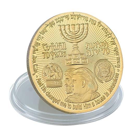 2018 König Cyrus Und Donald Trump Vergoldete Münze Jüdischen Tempel