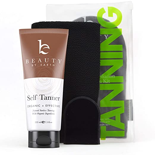 Self Tanner & Tanning Mitt Set - With Natural Tanning Lotion, Exfoliating Gloves, Self Tanner Mitt for Body and Face Tanner Tanning Mit, Best Self Tanning Lotion Kit for Your Self Tan and Fake Tan Best Sunless Tanners