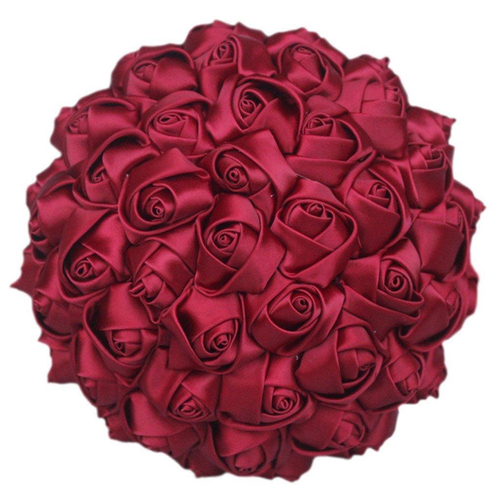 Fouriding Wedding Bouquet da Sposa Nozze Fiore del Nastro Rosso Rose Bouquet da Damigella dOnore 18CM Vino Rosso