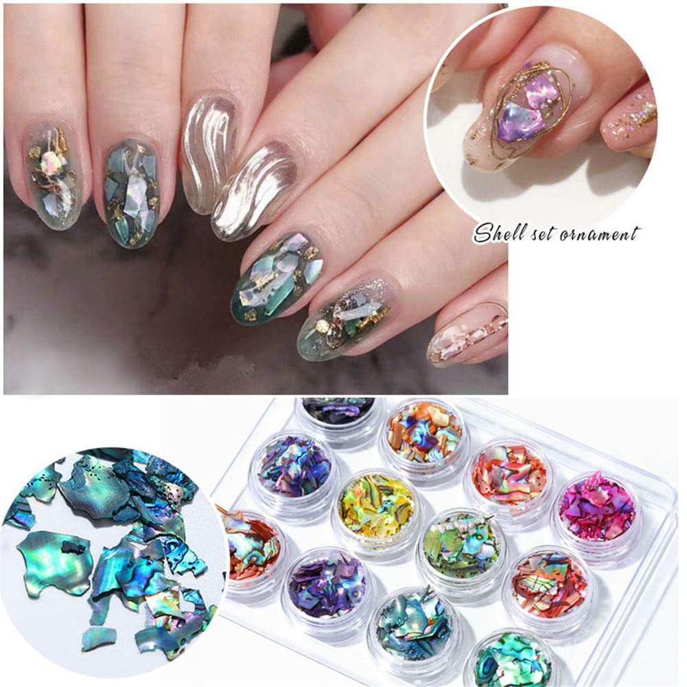 12 boxes 12 patterns Shell Nails Art Sequins for Nail UV Gel Polish Decoration of Nail Accessories (1) by xingqing