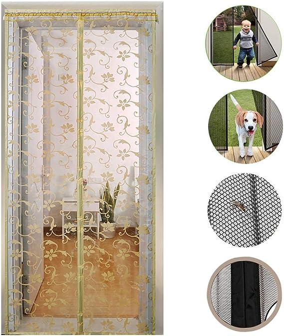 SYWJ Puerta con mosquitera Fly Insect, Puerta con mosquitera de Cristal - para el Dormitorio, Sala de Estar, Velcro, fácil de Instalar - Beige,180x230cm: Amazon.es: Hogar