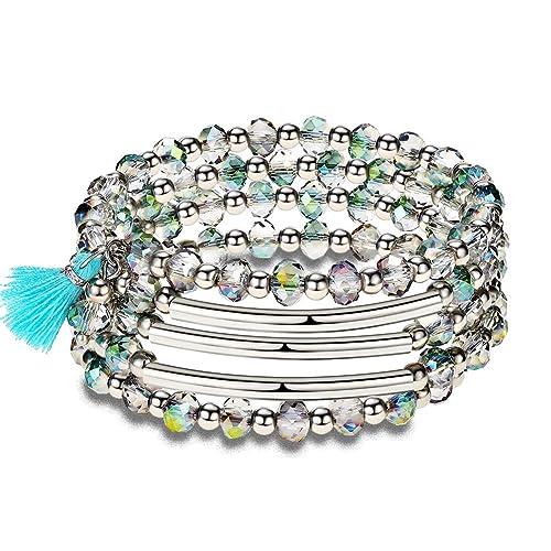 a1a6007ad02fd Amazon.com: Crystal Wrap Bangle Bracelets for Women - Fashion Boho ...