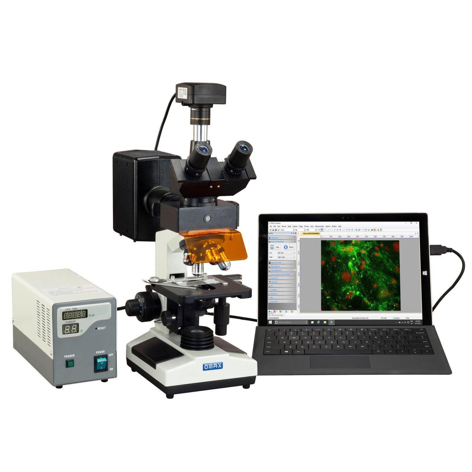OMAX 40X-2500X 18MP USB 3.0 Digital EPI-Fluorescence Trinocular Compound Biological Lab Microscope by OMAX