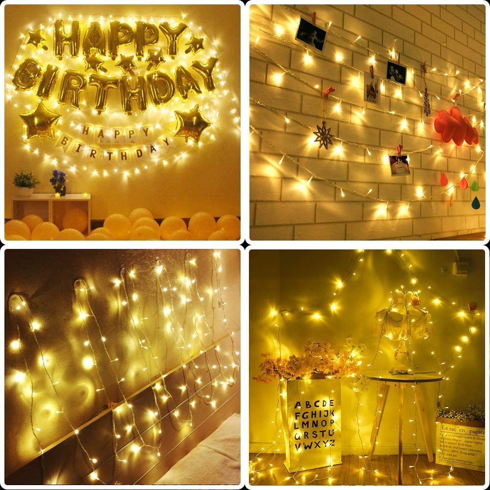 Ollny Led Indoor String Lights 200 LEDs 66ft Fairy String Lights for Indoor Bedroom with Remote and Timer Plug in Indoor Wedding Christmas Party Decorative Lights Warm White 8 Modes Waterproof by Ollny (Image #4)