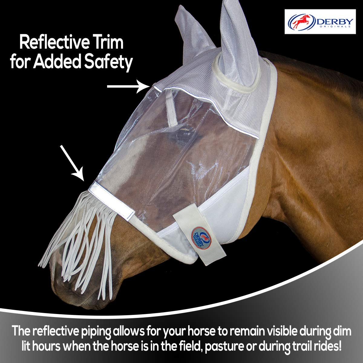 Derby Originals Reflective Fly Mask with One Year Warranty with Ears and Nose Fringe
