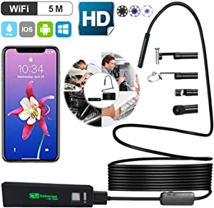 Senb WiFi Endoscope,2.0MP 1200P Full HD Inspection Camera,IP68 Waterproof Borescope with 8 LED Lights, 32.8ft Semi-Rigid Cable Snake Camera for iPhone Android Smartphones,Table PC,iPad 5M(32.8ft)