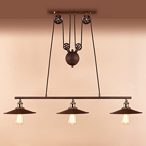 Pathson Industrial Vintage Loft Bar Victorian Rise And Fall Ceiling Pendant Light Fittings Metal