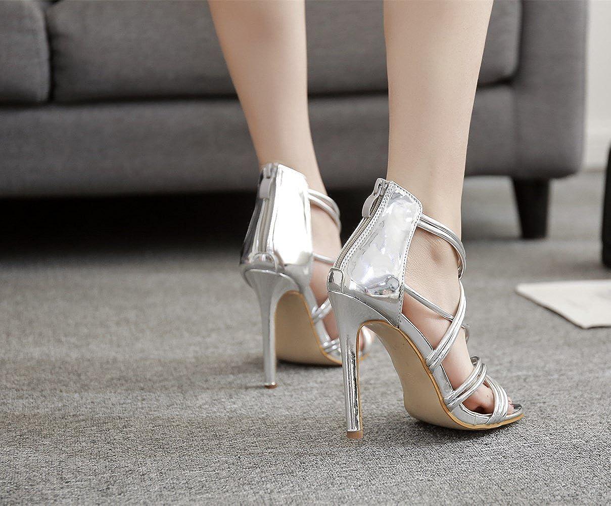 GoldGOD Damen Damen Damen Damen High Heels Superfeine Offene Zehe Fischmundsandalen,Silber,37 a37b2c