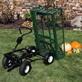 Sunnydaze Utility Steel Dump Garden Cart, Outdoor