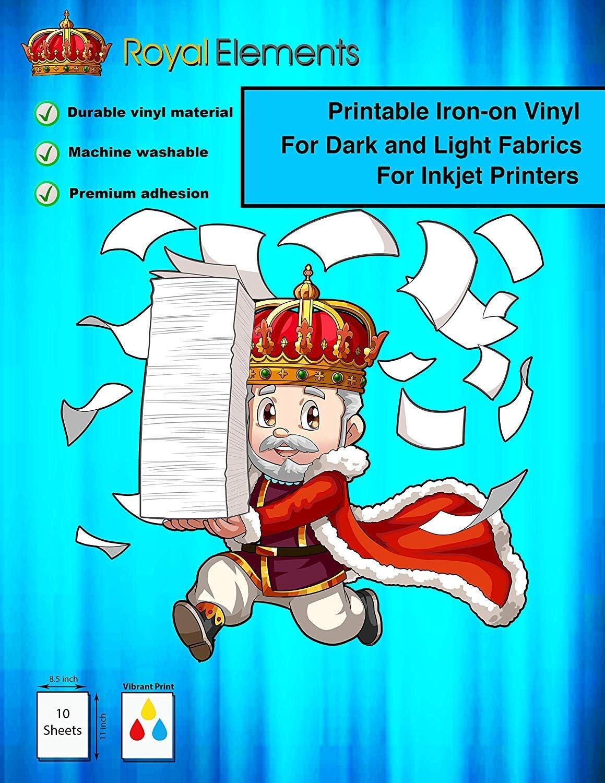 Royal Elements Printable T-Shirt Transfer Paper for Dark and Light Fabrics - 10 Heat Transfer Vinyl Sheets for Inkjet Printers