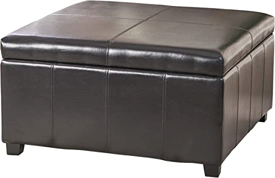 Amazon Com Christopher Knight Home Living Berkeley Brown Leather Square Storage Ottoman Espresso Furniture Decor