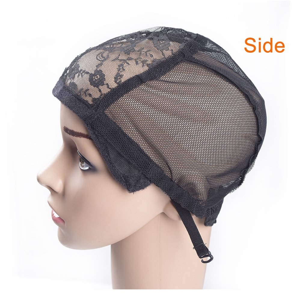 M AliMomo 2 pcs Wig Caps with Adjustable Strap for Making Wigs Free Size Black Dome Mesh Wig Cap for Women (Lace Wig Caps)