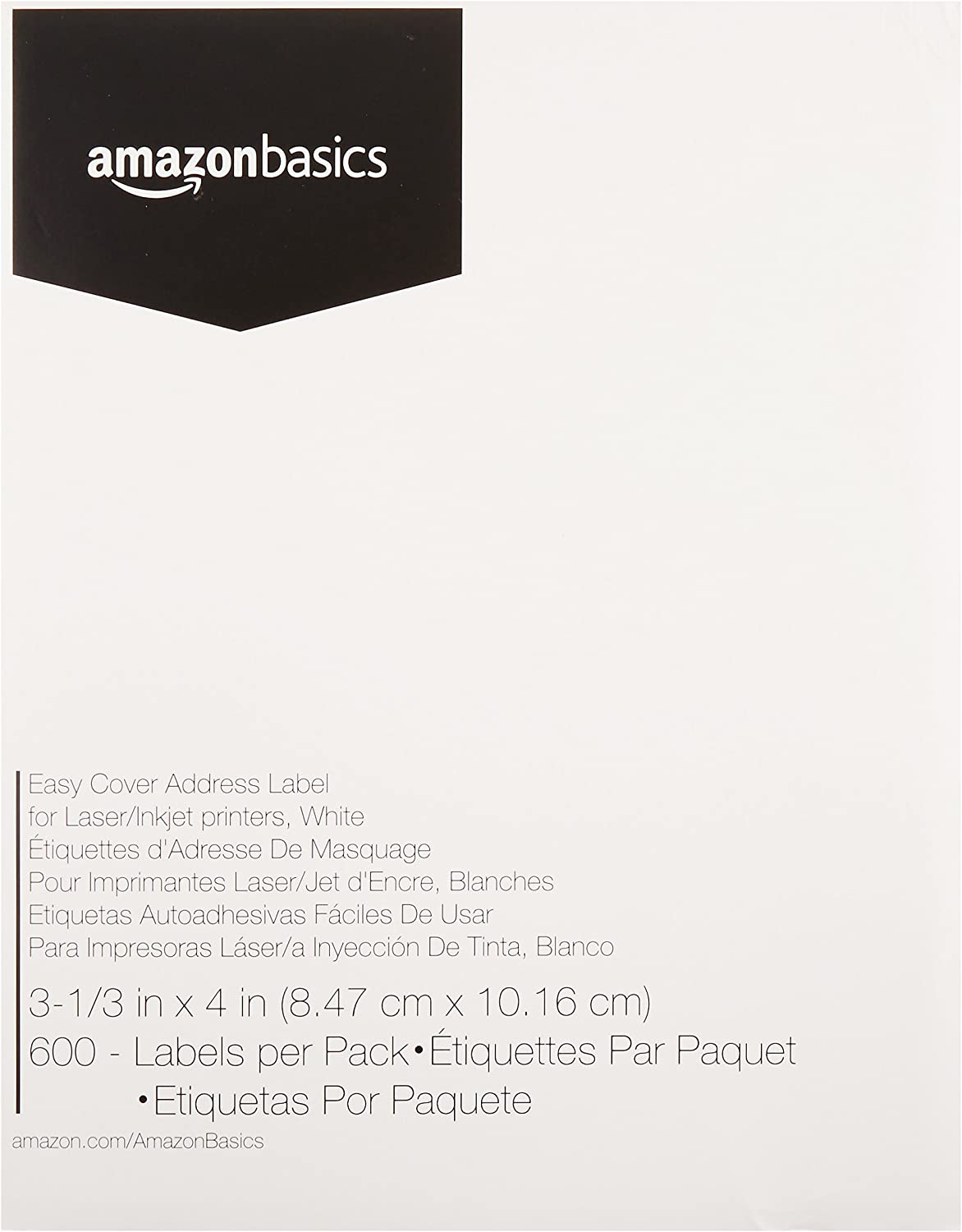 AmazonBasics Easy Cover Address Labels for laser/Inkjet Printers, White, 3-1/3 x 4 Inch Label, 600 Labels