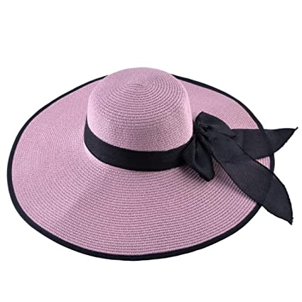 89f03651b Amazon.com: WEEKEND SHOP Straw Hat for Women Summer Casual Wide Brim ...