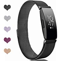 Sport Watch Wristband for Fitbit Inspire Bands and Fitbit Inspire HR Band Stainless Steel Metal Strap Bracelet Loop…
