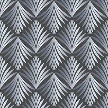 Klassische Tapete Art Deco Akanthus Mit Blatt Muster In Grau