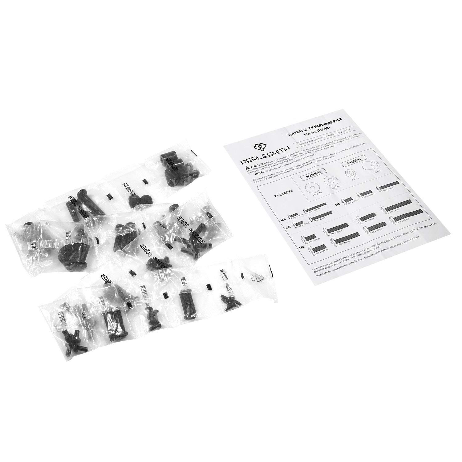 PERLESMITH Universal TV Mounting Hardware Kit Fits Most TVs Black Includes M4 M5 M6 M8 TV Screws Washers and Spacers VESA Screw Set for TV and Monitor Phillips Screws