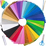 """85 Sheets Bright Craft Foam Sheets Glitter Craft Foam Sheets 17 Assorted Rainbow Colors 9x6"""" 2mm Thick with Scissor Stencils Ruler Pencils for Kids Classroom Party Scrapbooks Artwork Projects 9"""" x 6"""""""