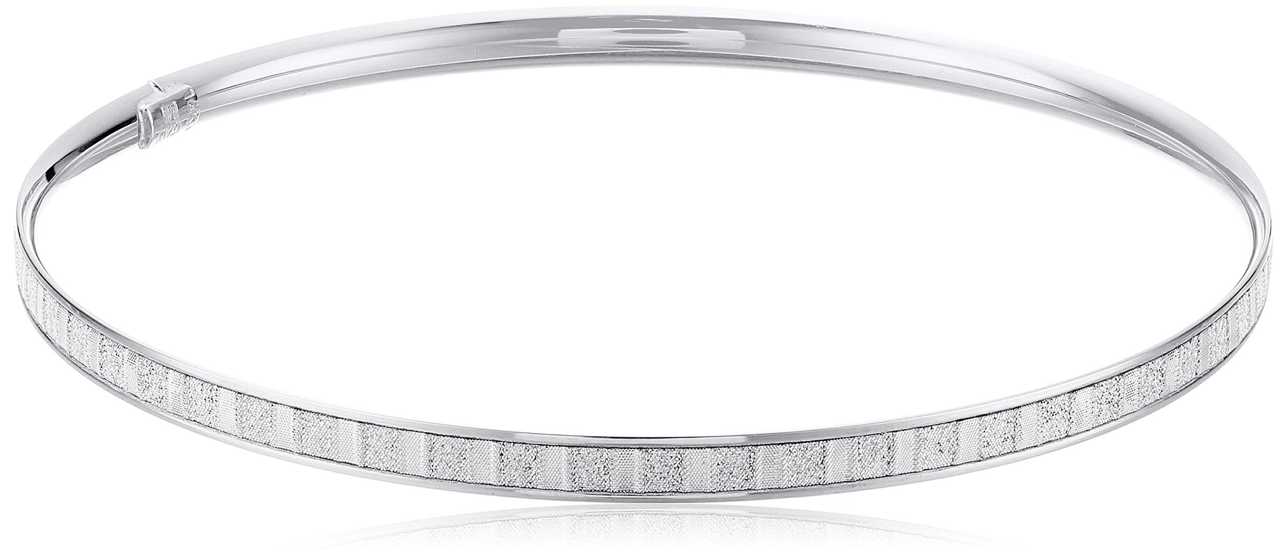14k White Gold Italian 4 mm Tube Slip On Bangle with Baguette Style Glitter Bangle Bracelet by Amazon Collection