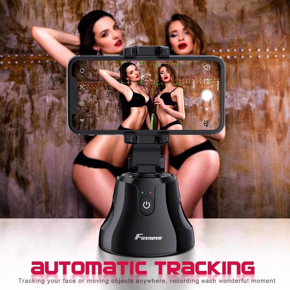 Smart Selfie Stick, Auto Face/Object Tracking Holder Intelligent Follow Portable Invisible Selfie Stick (Black)