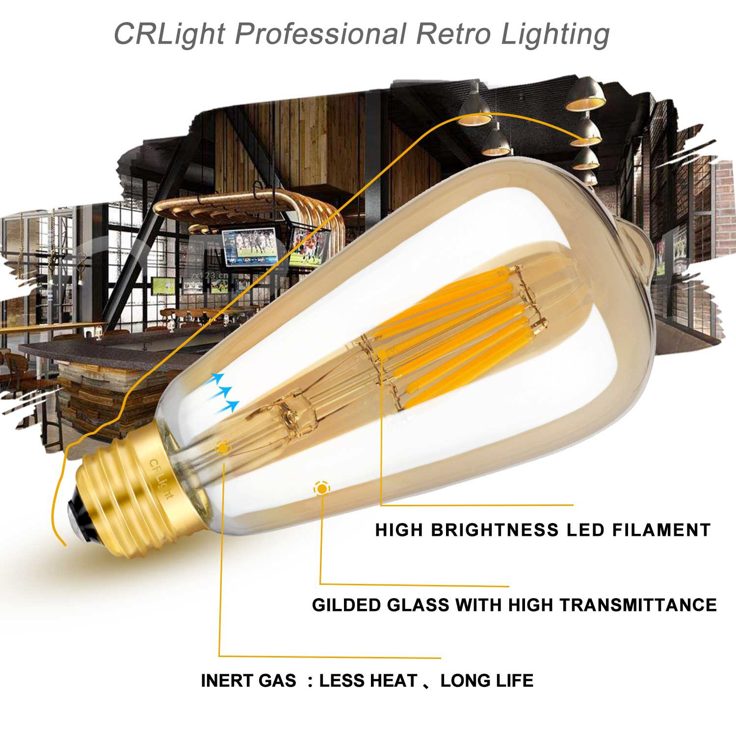 Crlight Led Edison Bulb 8w Dimmable 2700k Warm White 800lm 80w 300pwh Diva 300w Electronic Low Voltage Single Pole Dimmer In Equivalent E26 Medium Base St21st64 Vintage Gilded Glass Filament Bulbs